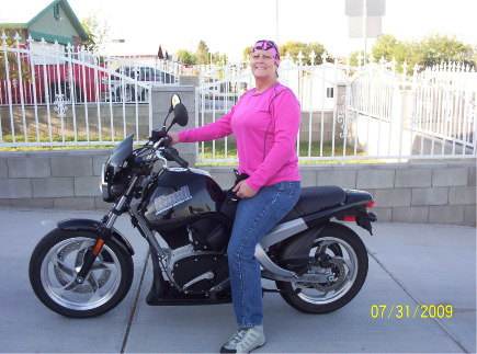Nancy Marshall on her H-D Buell